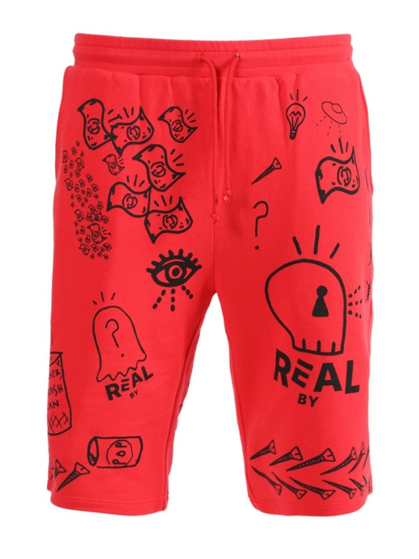 Real Buy RED AND BLACK SWEAT SHORTS