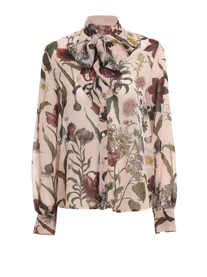 Floral Print Pussy Bow Shirt
