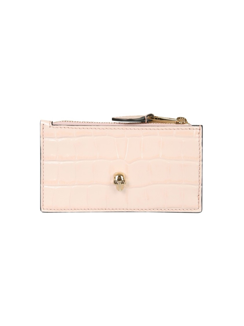 ALEXANDER MCQUEEN NUDE LEATHER CARD HOLDER