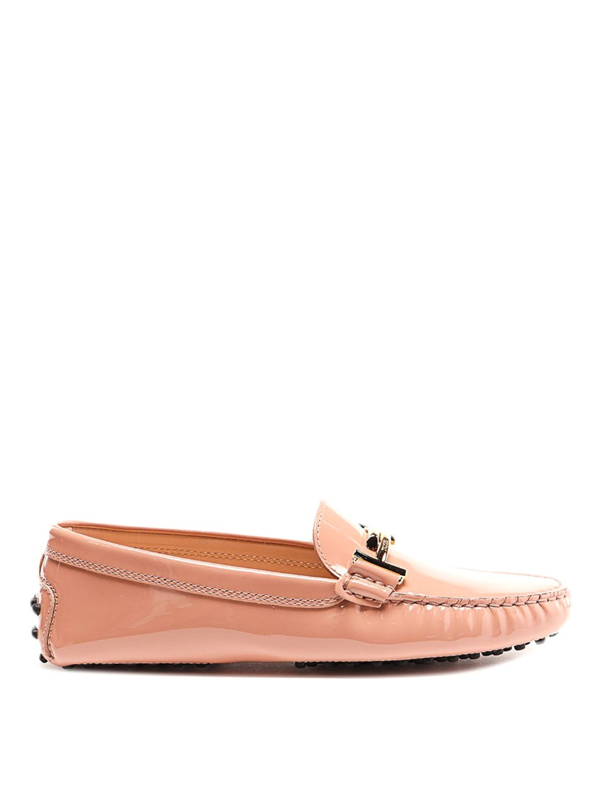 Tod's Gommini Double T-bar Patent Leather Loafers In M026 Doppia