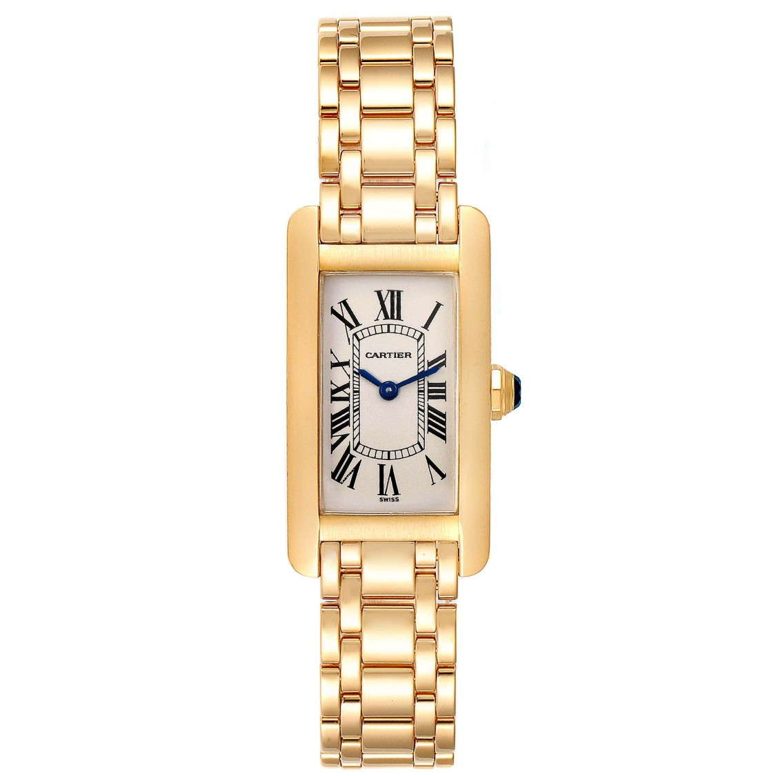 CARTIER TANK AMERICAINE 18K YELLOW GOLD LADIES WATCH W26015K2