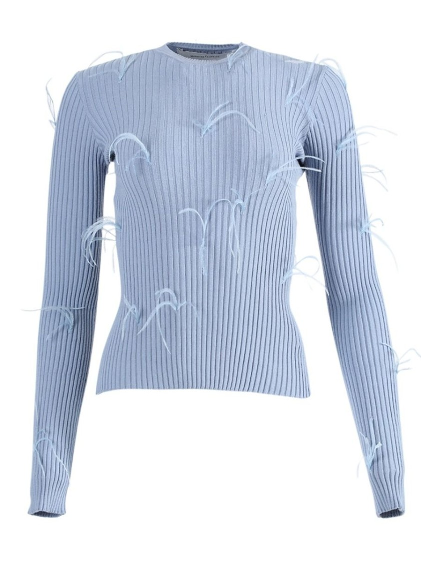 Marques' Almeida LIGHT BLUE FEATHERED SWEATER