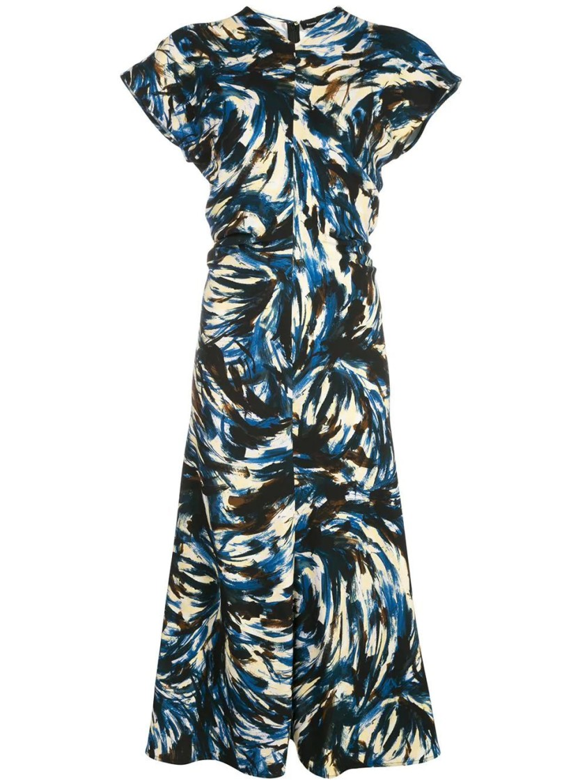 Proenza Schouler PRINTED CADY SHORT SLEEVE DRESS