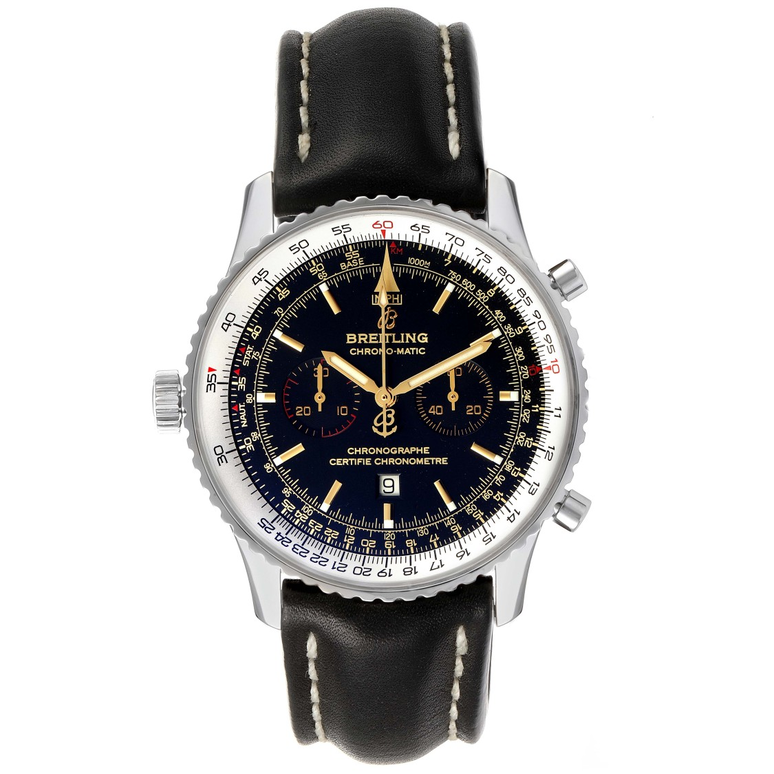 BREITLING CHRONOMATIC LIMITED EDITION BLACK DIAL STEEL MENS WATCH A41350