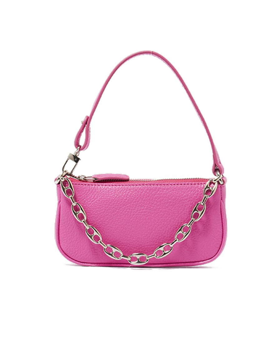 By Far Mini Rachel Hand Bag In Fuxia Leather In Pink