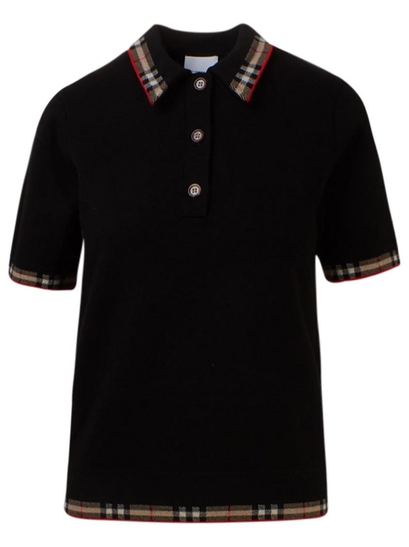 Burberry Shirts BLACK WOOL POLO SHIRT