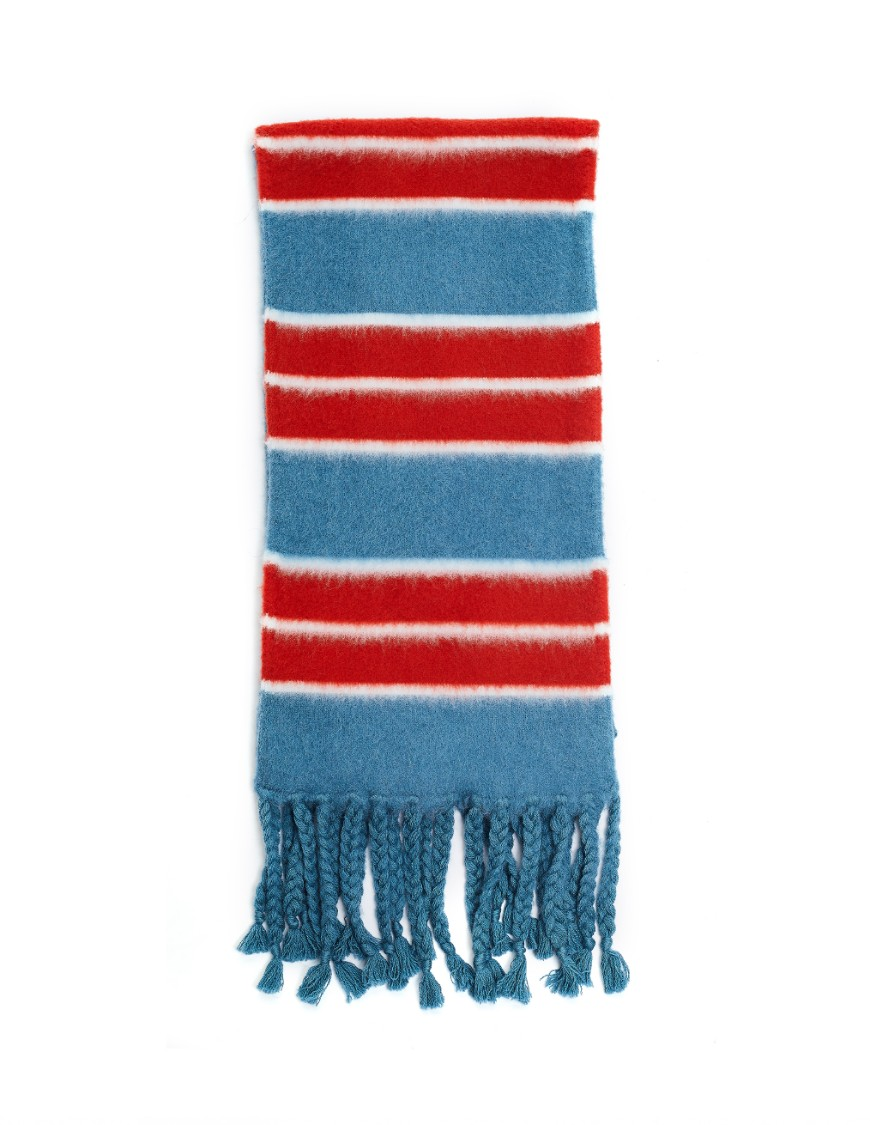 Oamc Blue & Red Wool Scarf