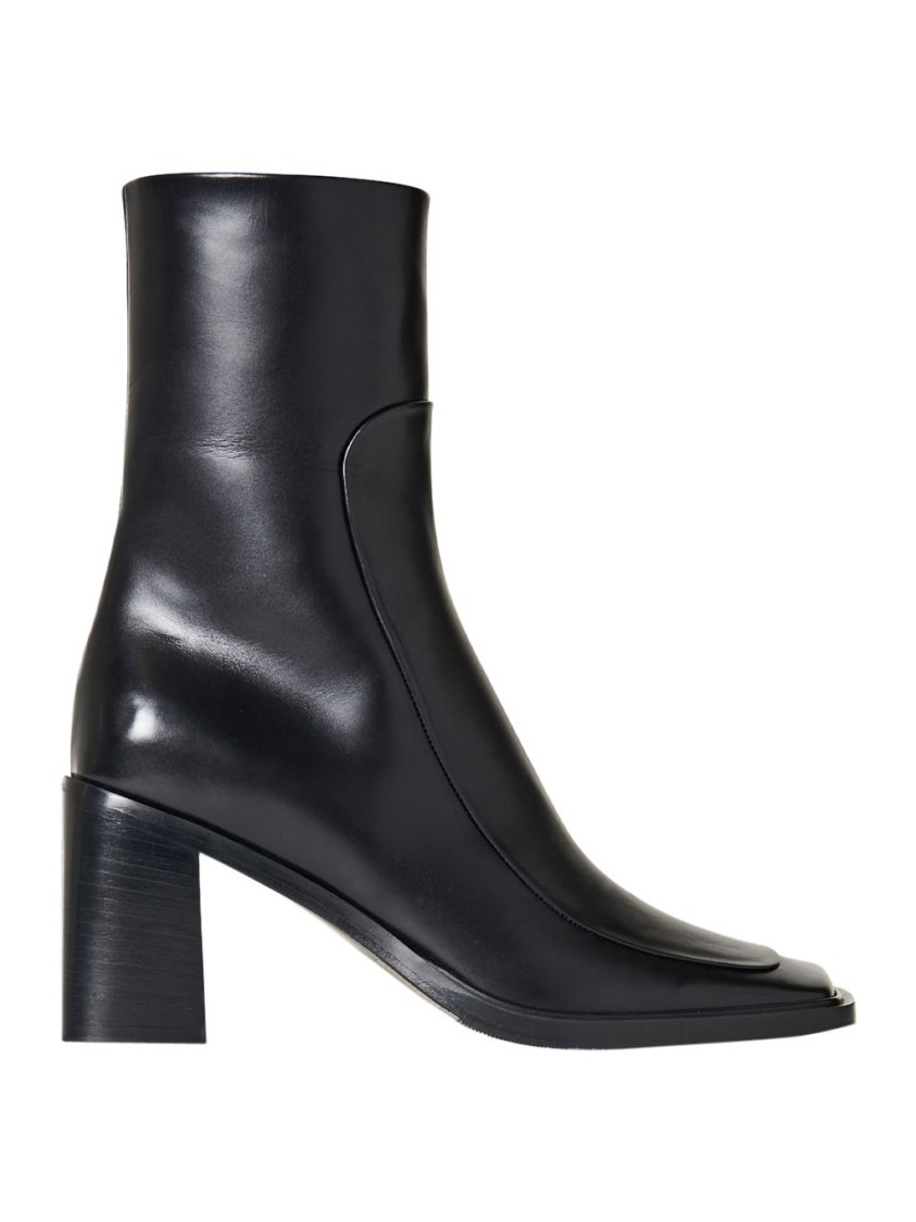 The Row Leathers PATCH ANKLE BOOT, BLACK