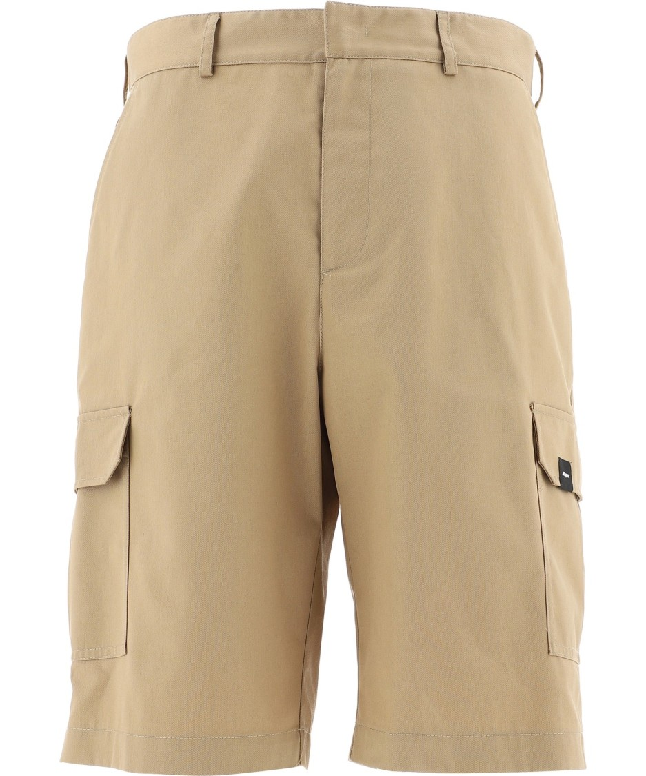 Msgm Beige Polyester Shorts In Brown