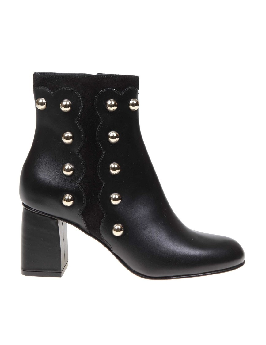 Red Valentino Tornchetto In Black Leather With Studs