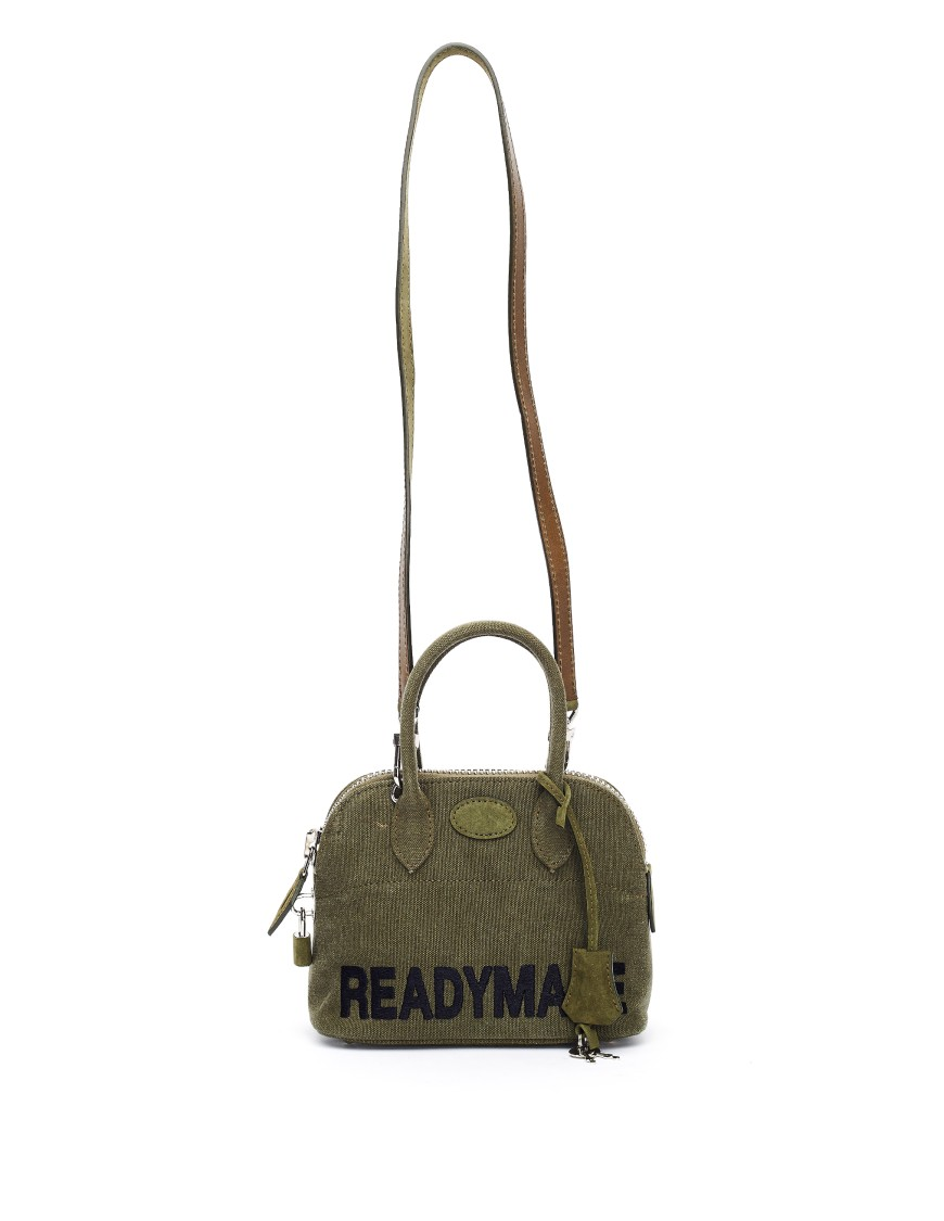 Readymade Embroidered Khaki Cotton Bag In Black