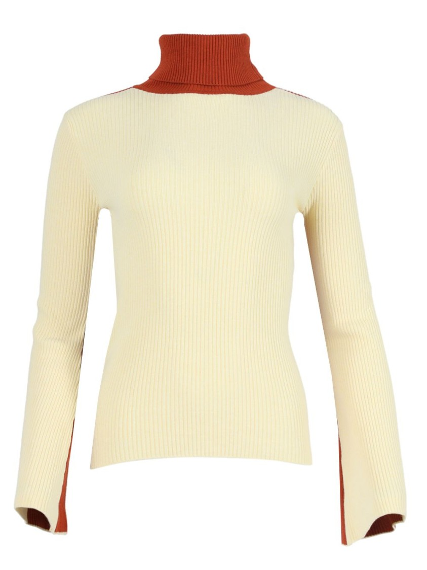 Valentine Witmeur PALE YELLOW KNIT  TURTLENECK TOP