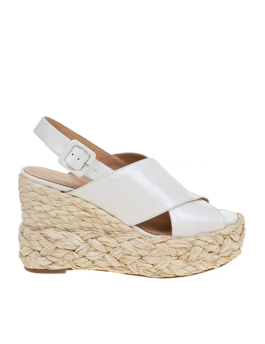 Paloma Barceló AVA SANDAL IN CREAM COLOR LEATHER