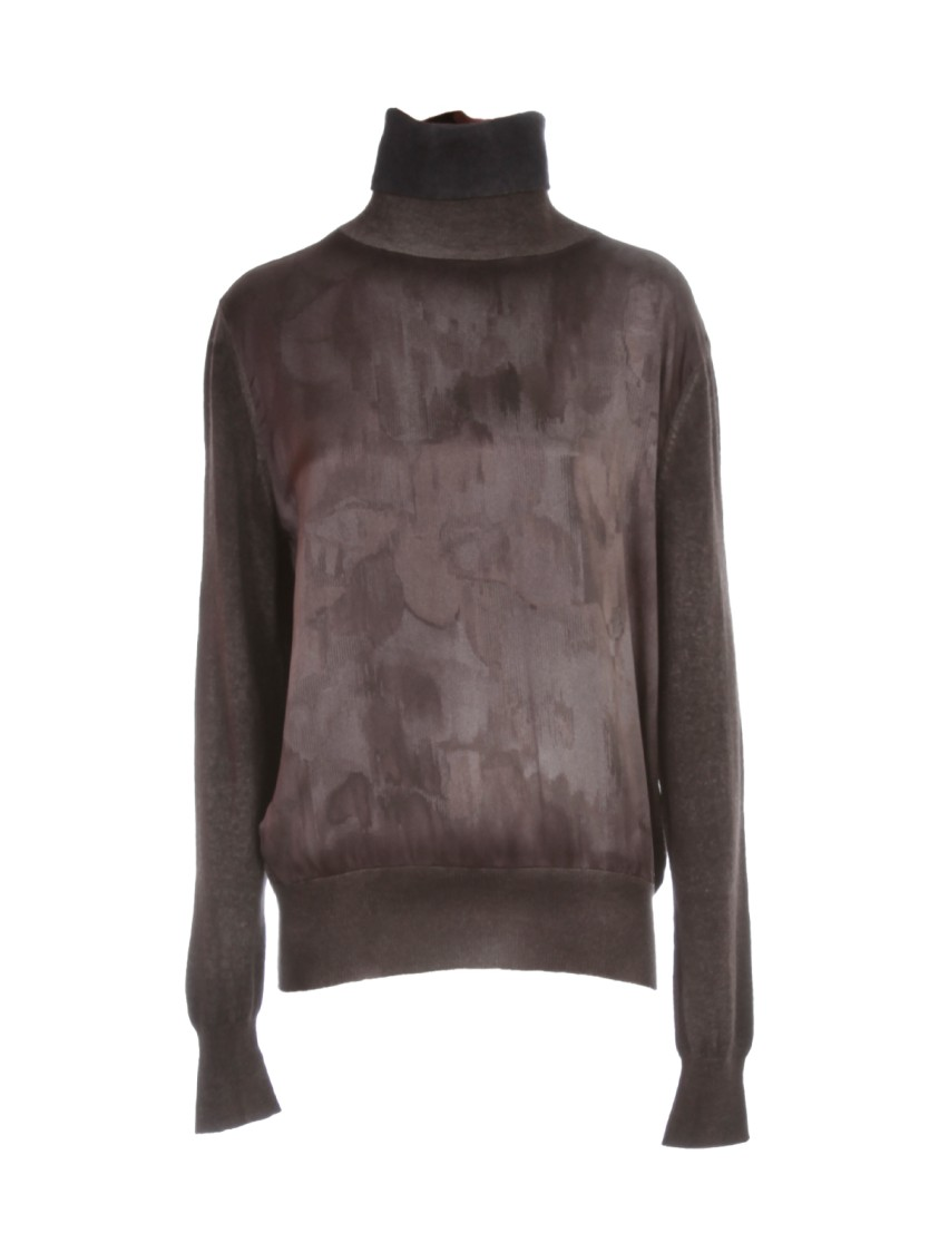 Avant Toi CASHMERE HIGH NECK SWEATER W/ SATIN PRINT IN FRONT