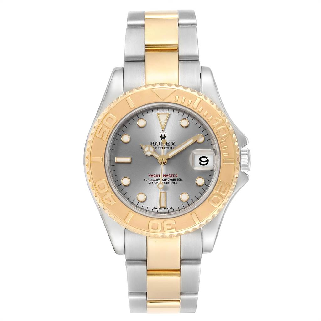 Rolex Watches YACHTMASTER 35 MIDSIZE STEEL YELLOW GOLD SLATE DIAL WATCH 168623