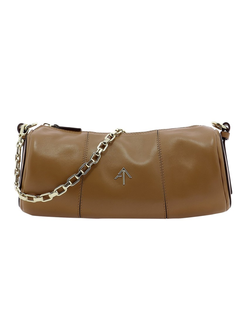 Manu Atelier CYLINDER BROWN LEATHER SHOULDER BAG