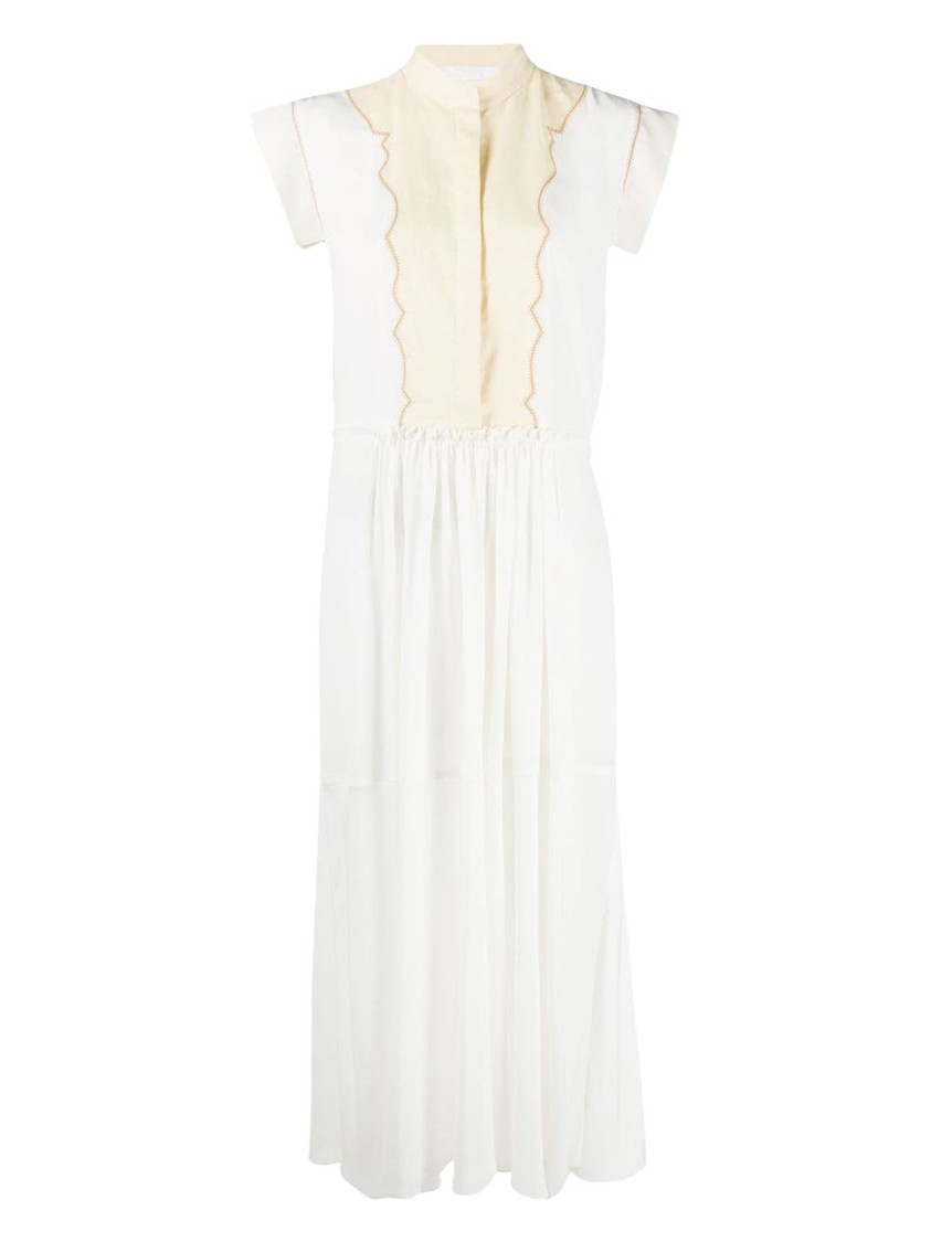 Chloé WHITE AND CREAM CAP SLEEVE BUTTON-DOWN MIDI DRESS