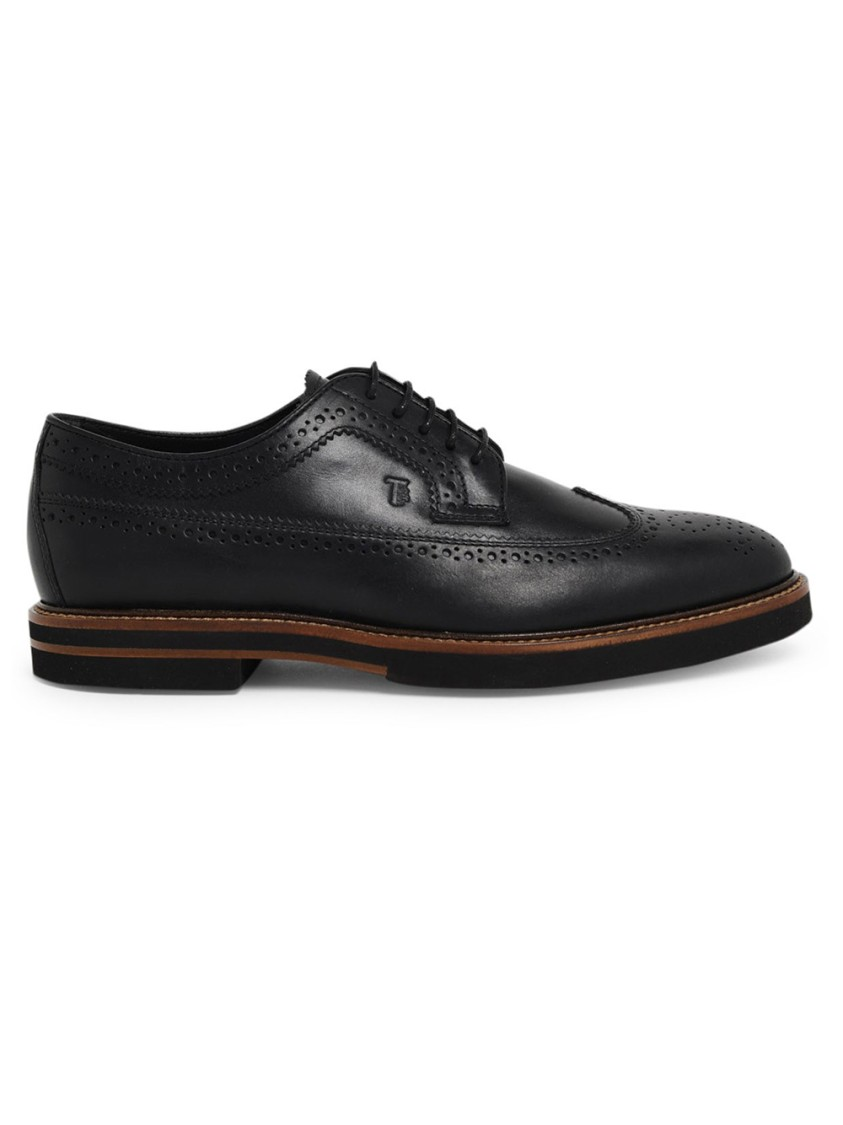 Tod's BLACK LEATHER LACE-UP SHOES