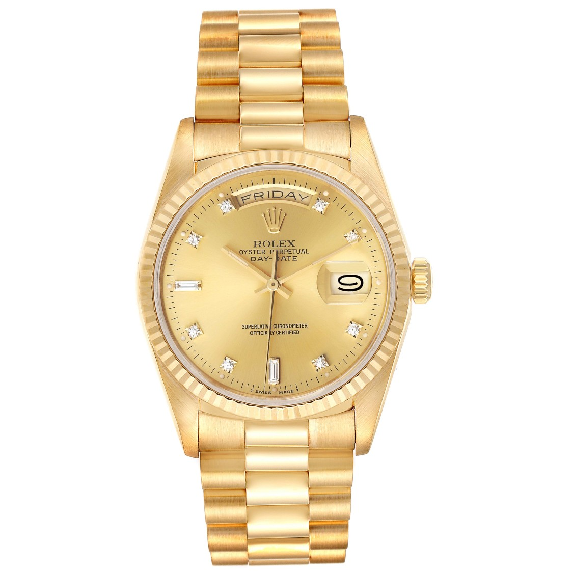 Rolex PRESIDENT DAY-DATE YELLOW GOLD DIAMOND DIAL MENS WATCH 18238