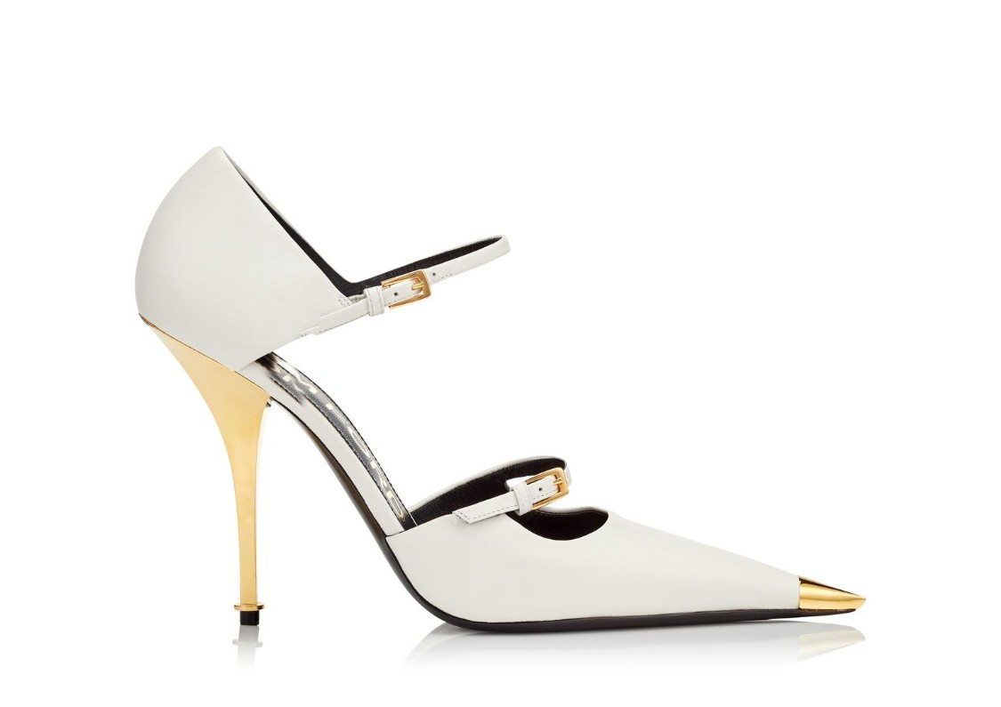 Tom Ford Two-strap Mary Jane Pumps With Pointed Metal Toe In White