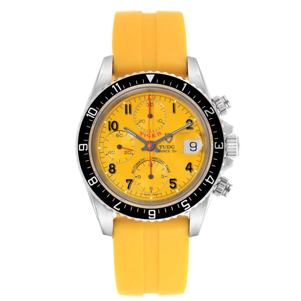 Tudor TIGER WOODS PRINCE DATE YELLOW DIAL RUBBER STRAP MENS WATCH 79270