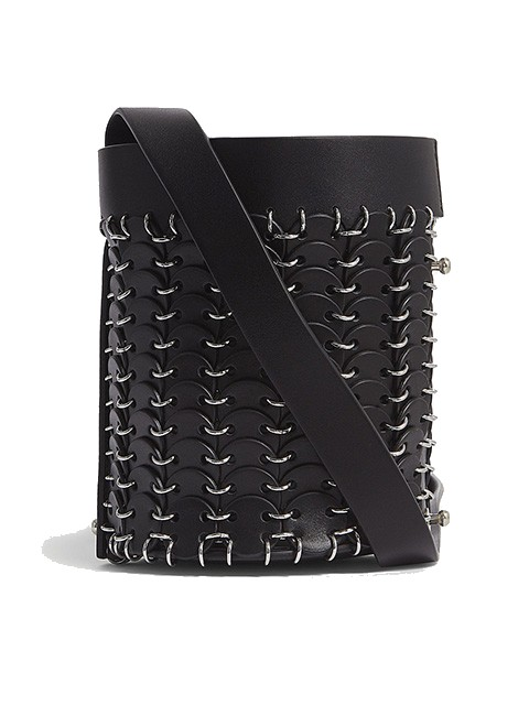 Paco Rabanne Chainmail And Leather Bucket Bag In Black