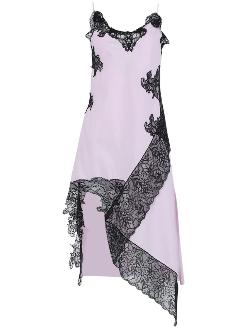 Marques' Almeida Pink And Black Lace Slip Dress