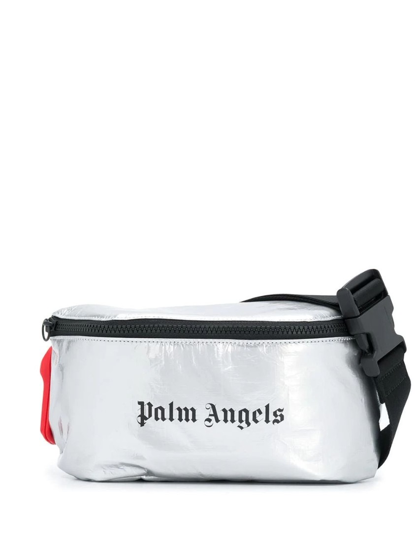 Palm Angels Silver Men's Silver Fanny Pack In White