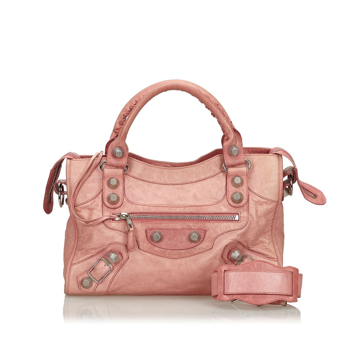 Balenciaga Leather Motocross Giant City Satchel In Pink