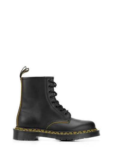 Dr. Martens Leathers BLACK LEATHER '1460 YELLOW' ANKLE BOOT