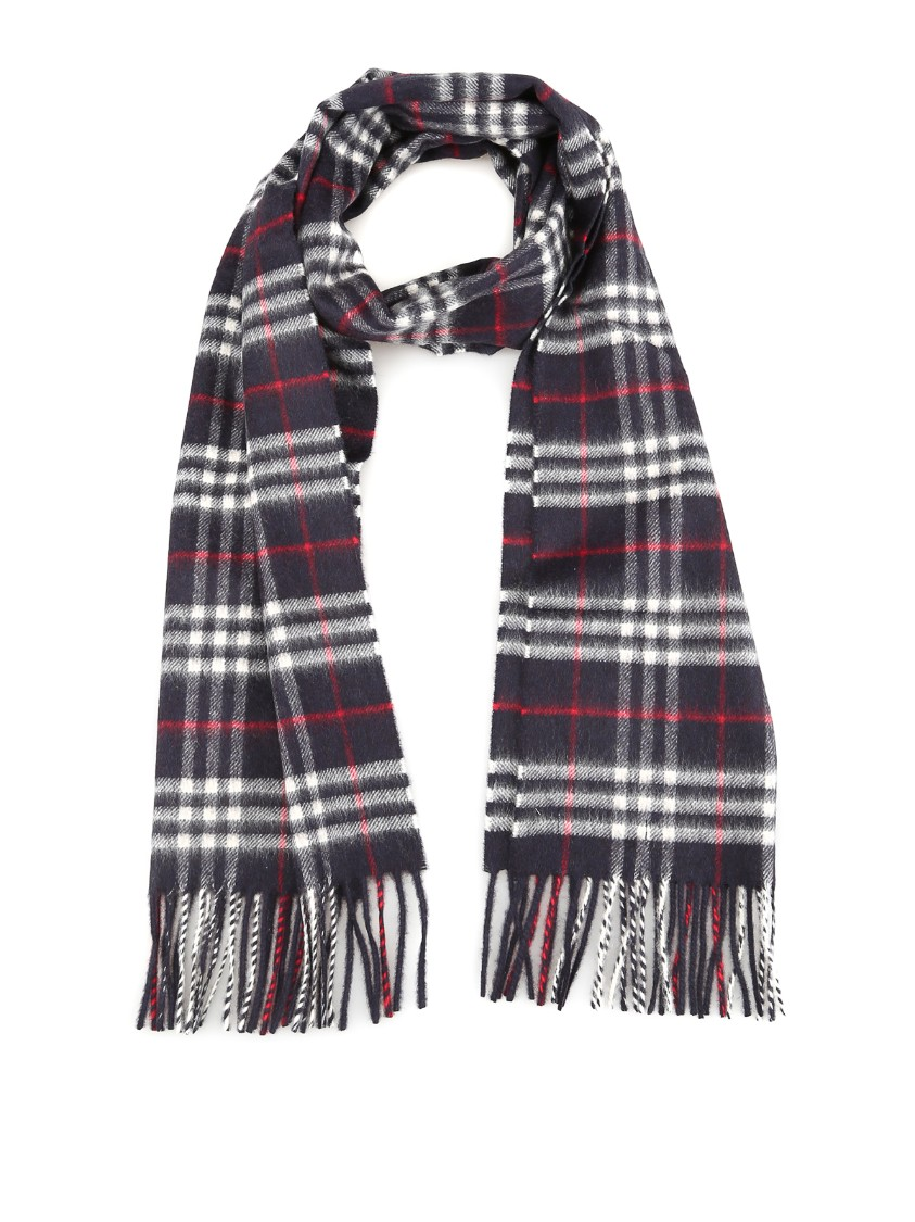 Burberry Vintage Check Dark Blue Cashmere Scarf In Black