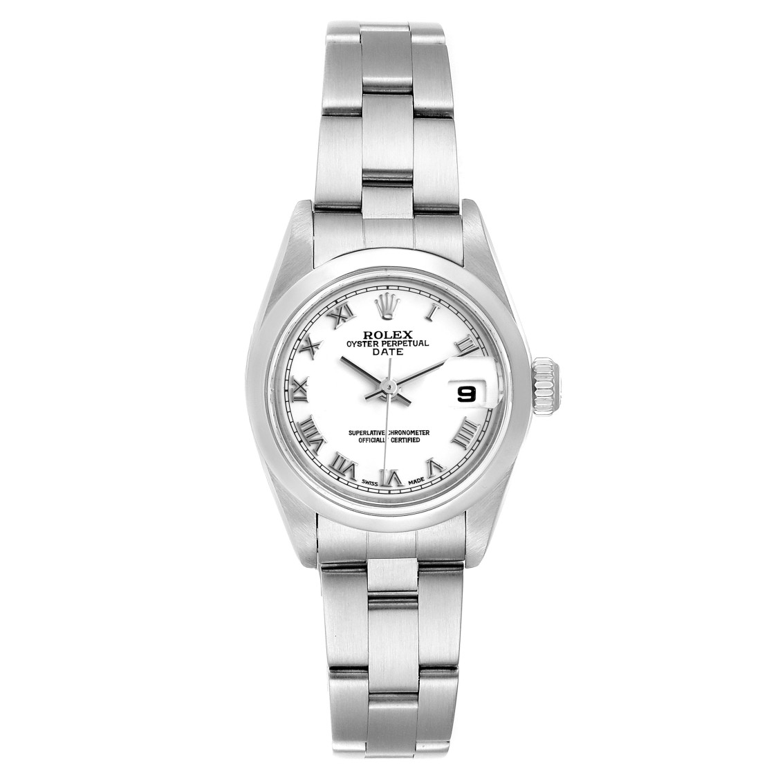Rolex DATE WHITE DIAL DOMED BEZEL STEEL LADIES WATCH 79160 BOX PAPERS