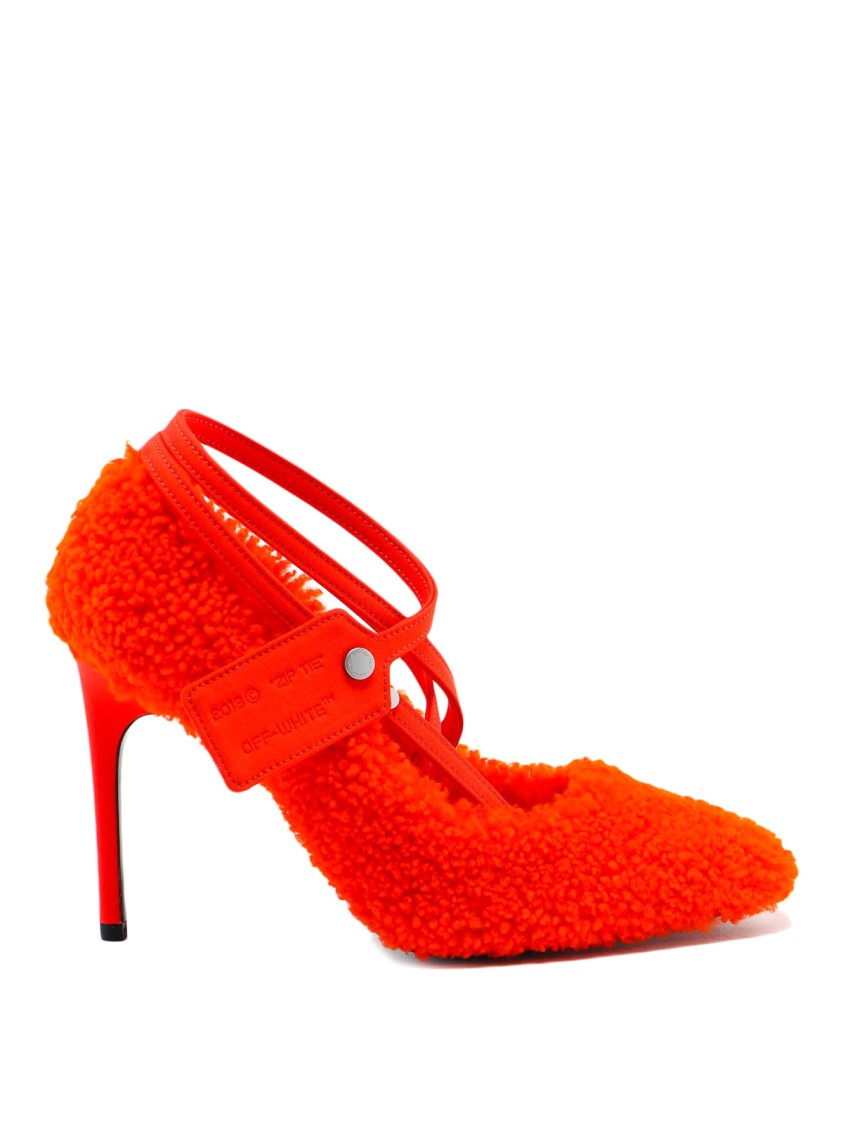 Off-White Pumps FURRY ZIP TIE NEON SHEARLING PUMPS