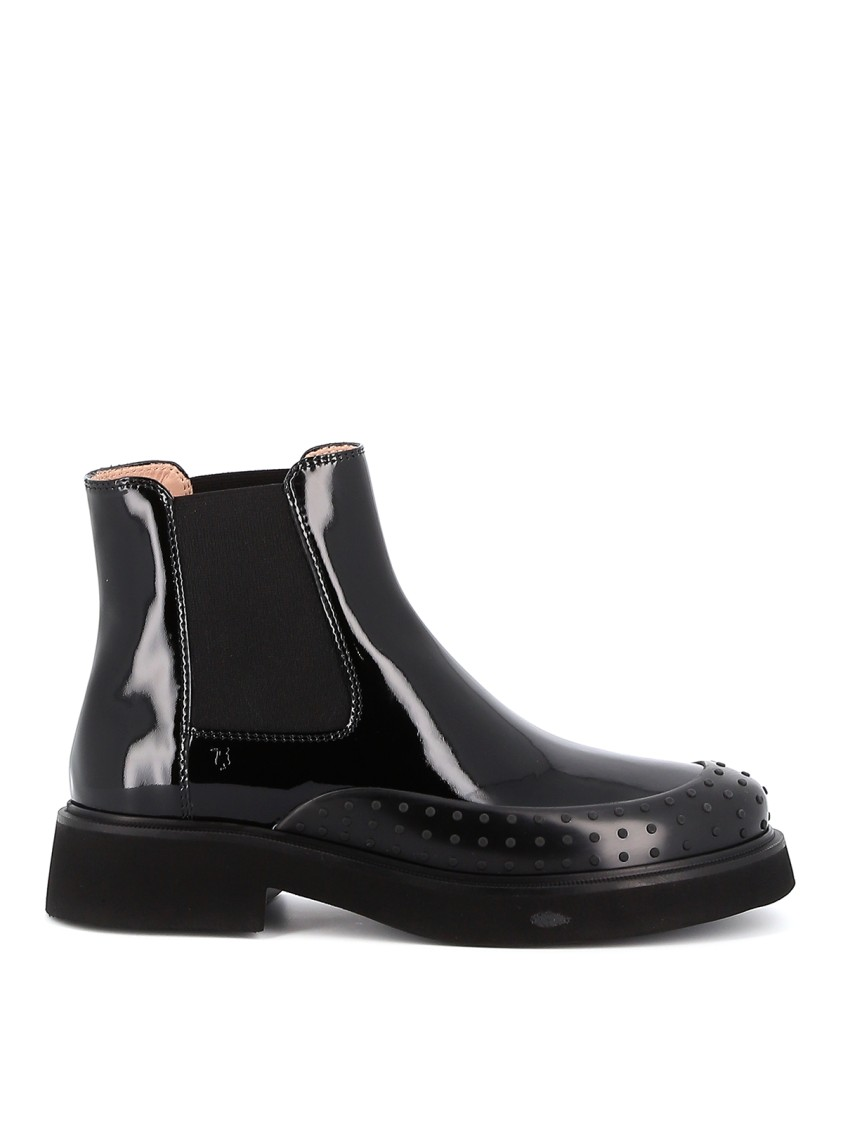 Tod's Boots BLACK PATENT LEATHER ANKLE BOOTS