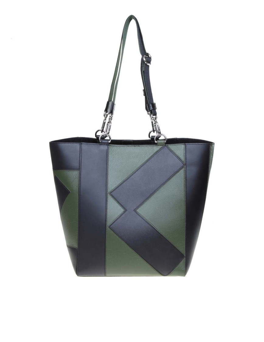 Kenzo Kube Tote Leather Bag In Green / Black Color
