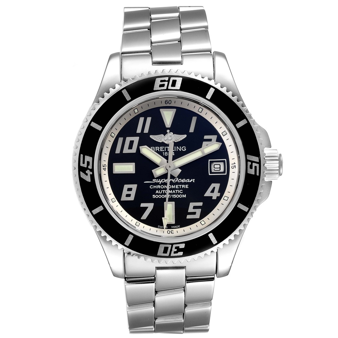 BREITLING SUPEROCEAN 42 ABYSS BLACK SILVER STEEL MENS WATCH A17364
