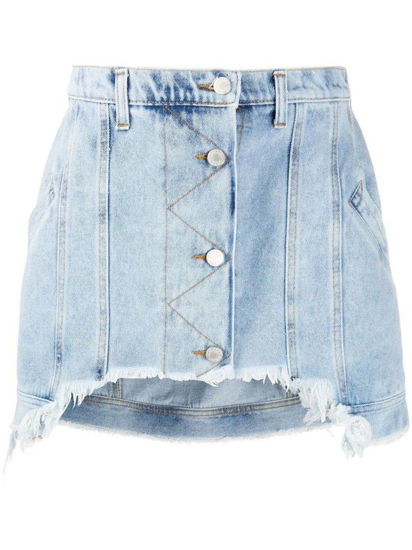 Natasha Zinko SHORT FRAYED DENIM MINI SKIRT