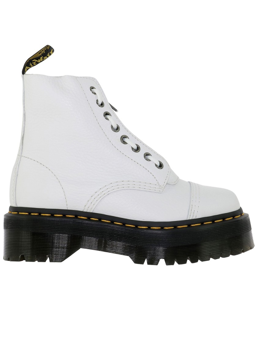 Dr. Martens WHITE LEATHER ANKLE BOOTS
