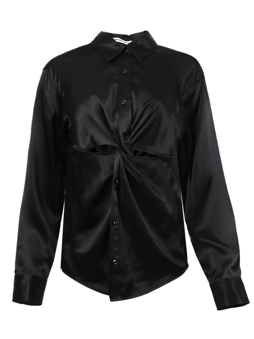 Alexander Wang T KNOTTED BUTTON-DOWN BLOUSE