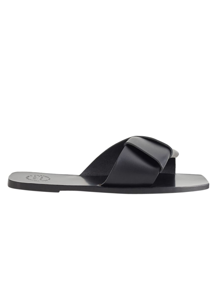 Atp Atelier BLACK CARPARI LEATHER SANDALS