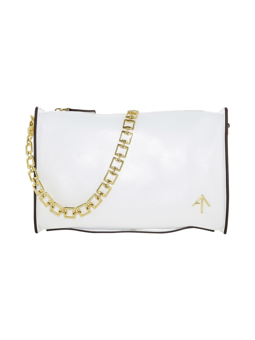 Manu Atelier CARMEN WHITE LEATHER SHOULDER BAG