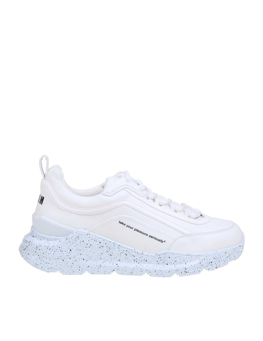Msgm SNEAKERS IN WHITE LEATHER AND FABRIC