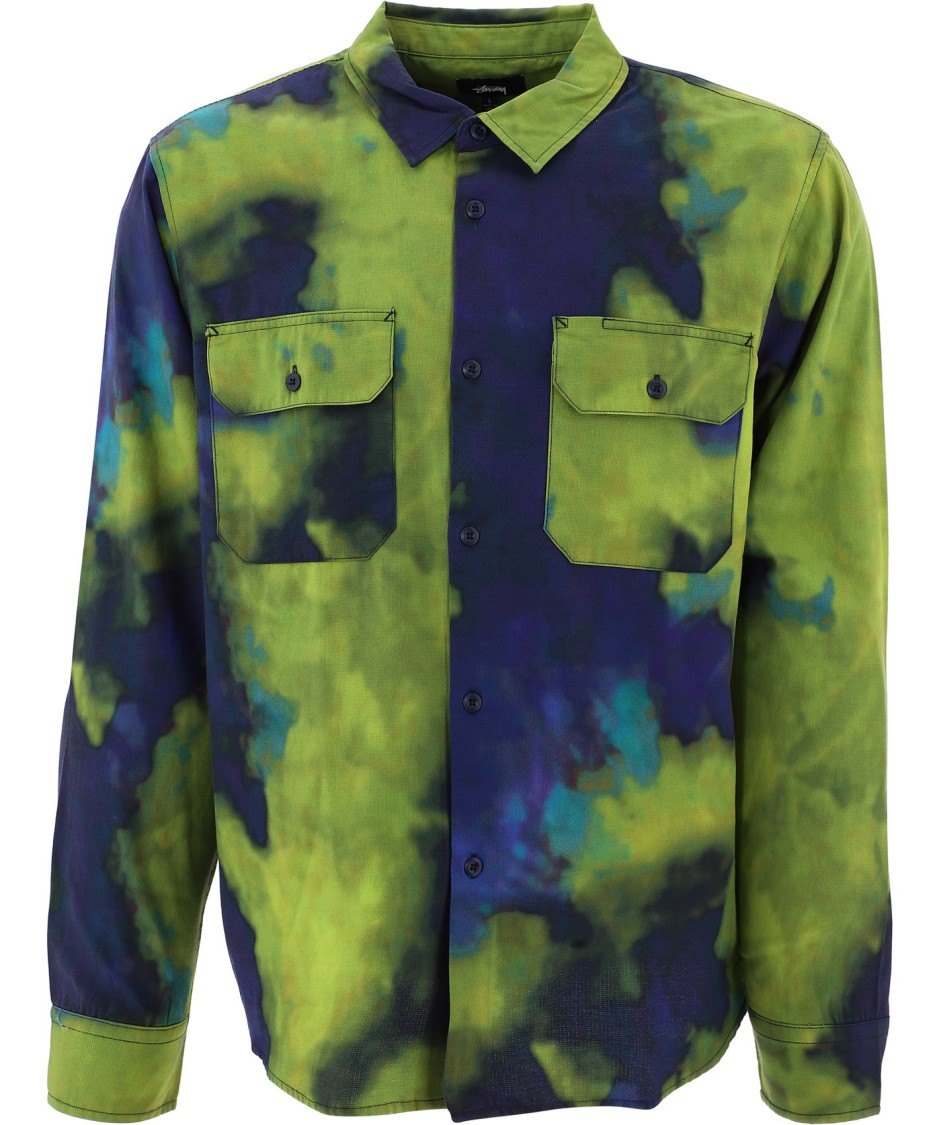Stussy Blue/green Cotton Shirt In Multicolor