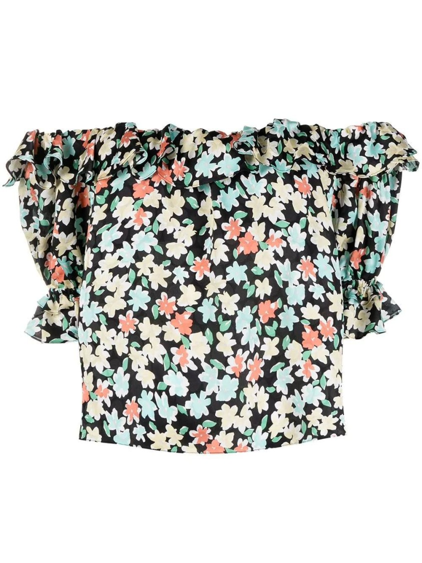 Saint Laurent Blouses SILK OFF-SHOULDER FLORAL PRINT BLOUSE