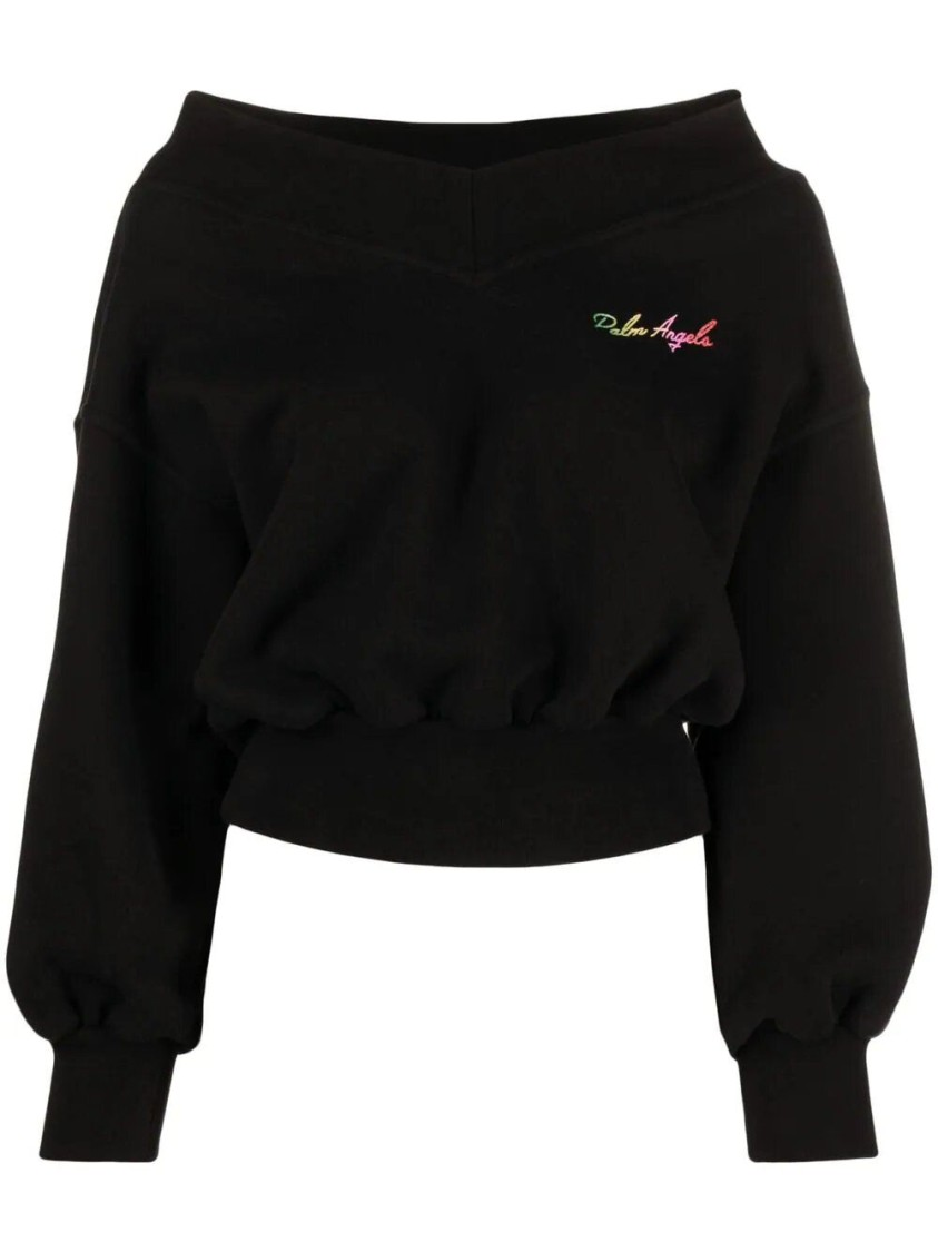 Palm Angels Cottons COLORFUL MIAMI LOGO GRAPHIC JUMPER, BLACK