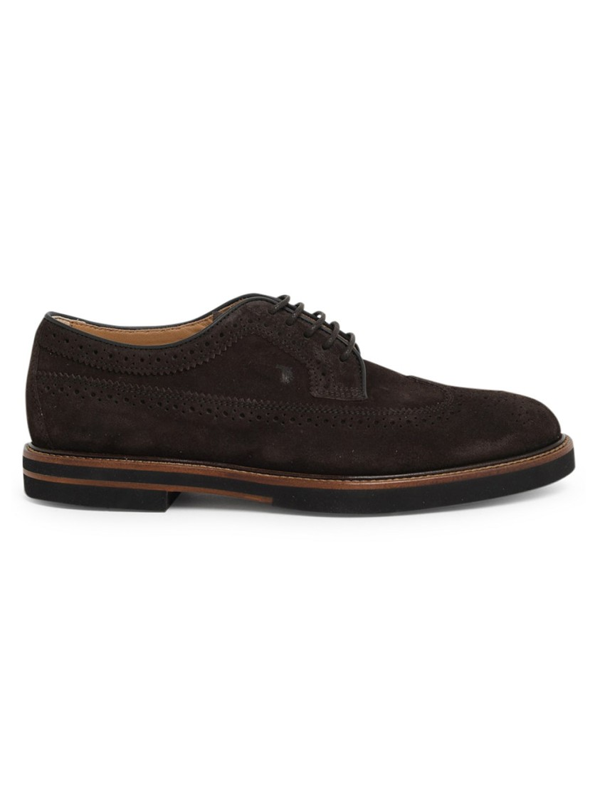 Tod's BROWN SUEDE LACE-UP SHOES