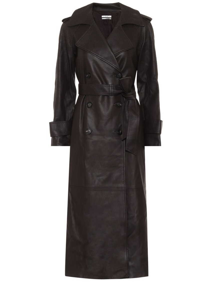 Co BROWN LEATHER TRENCH COAT