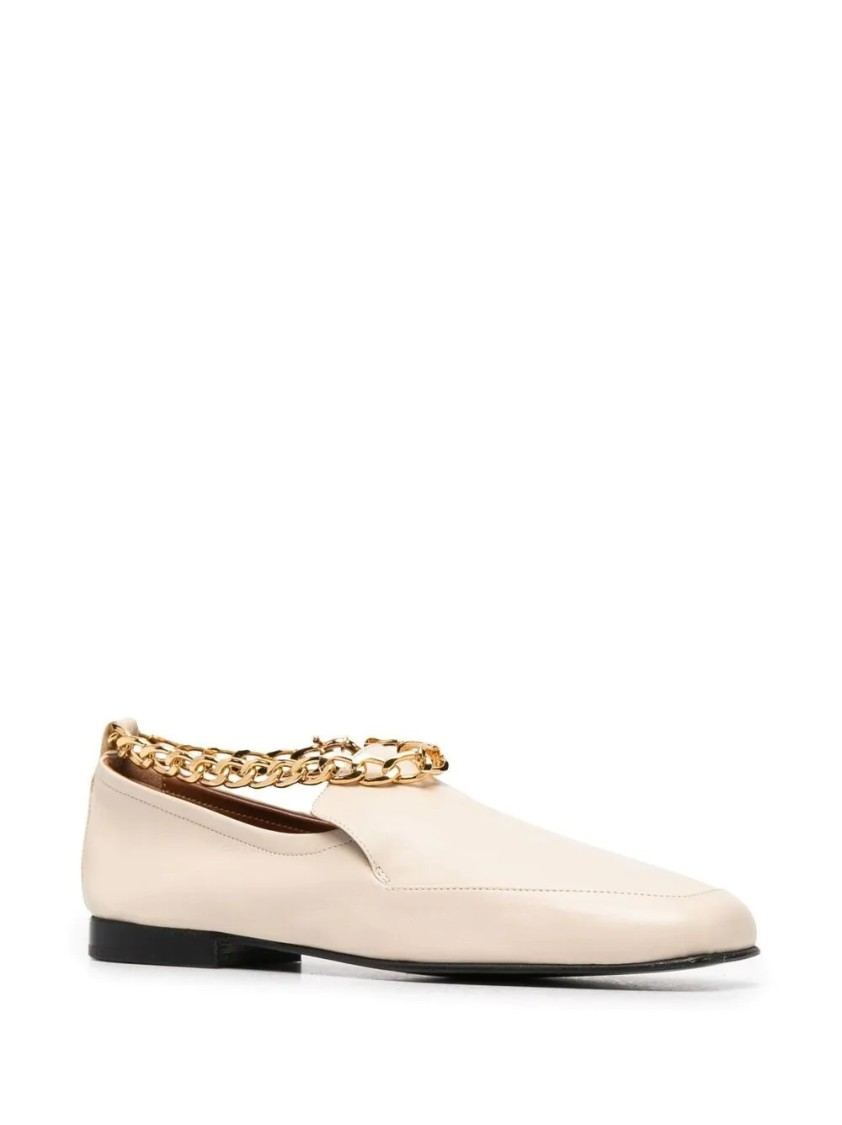 By Far Leathers CHAIN DETAIL LOAFERS