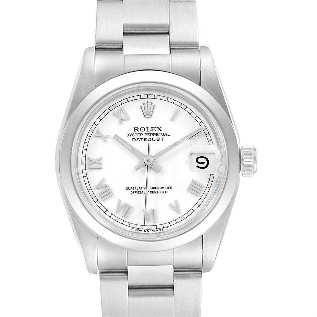 Rolex MIDSIZE DATEJUST 31 WHITE DIAL LADIES STEEL WATCH 68240