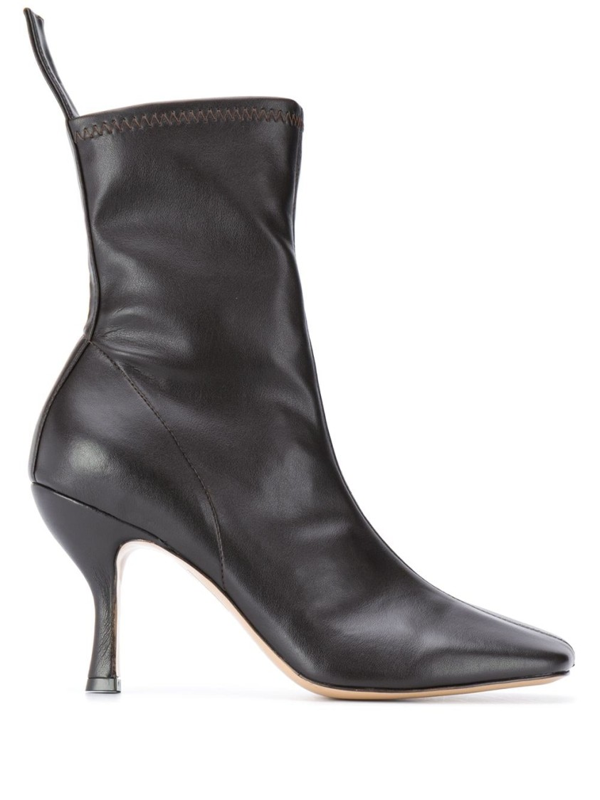 Gia Couture SQUARE-TOE LEATHER BOOTS
